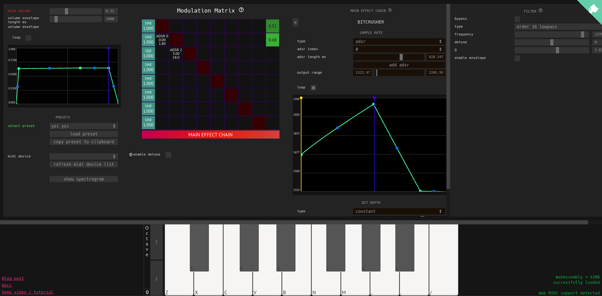 A screenshot of the FM synth demo